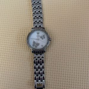 Guess silver butterfly watch